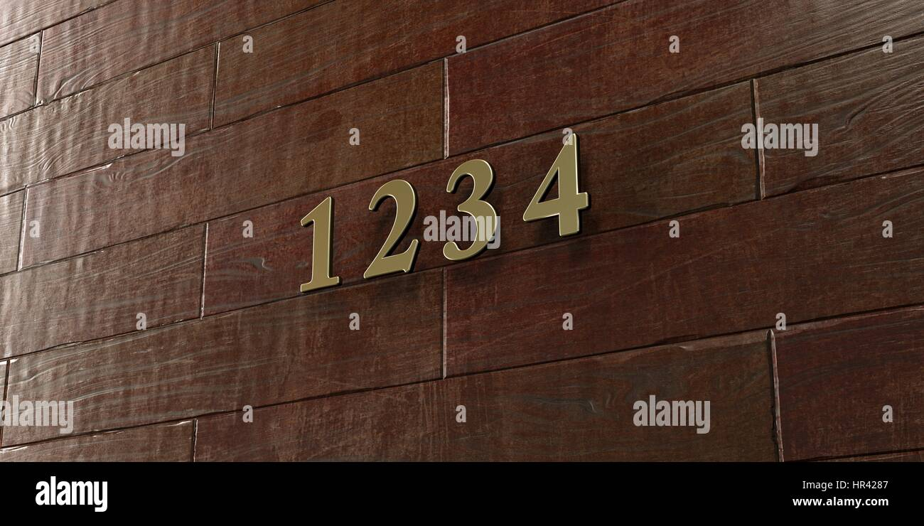 1 2 3 4 - Bronze plaque mounted on maple wood wall  - 3D rendered royalty free stock picture. This image can be - Stock Image