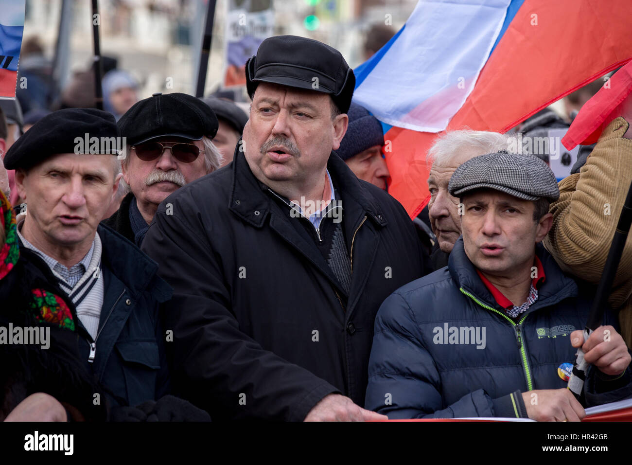 Moscow, Russia. 26th February 2017. Russian politician and businessman Gennady Gudkov (2nd R) takes part in a march - Stock Image