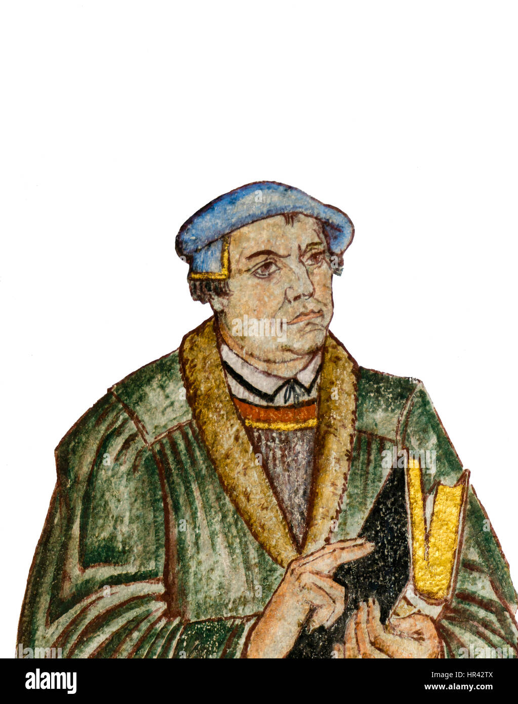 Fresco of the german reformer Martin Luther. A wall-painting at Gustaf church in Copenhagen, Denmark, January 21, - Stock Image