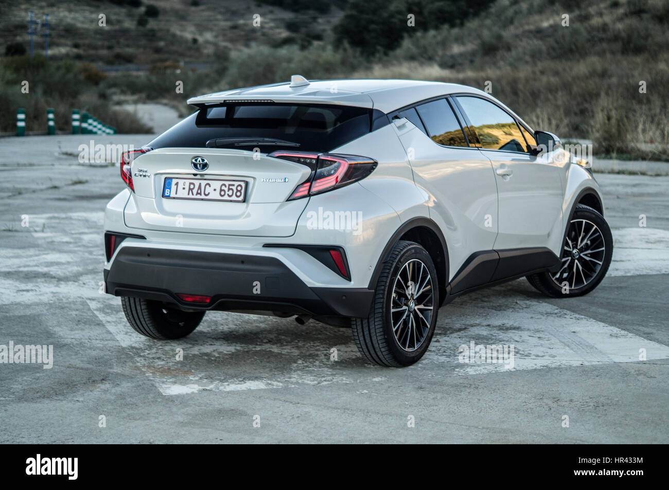 Rear angle close up of a white Toyota C-HR CHR on a helipad, hills Stock Photo: 134699928 - Alamy