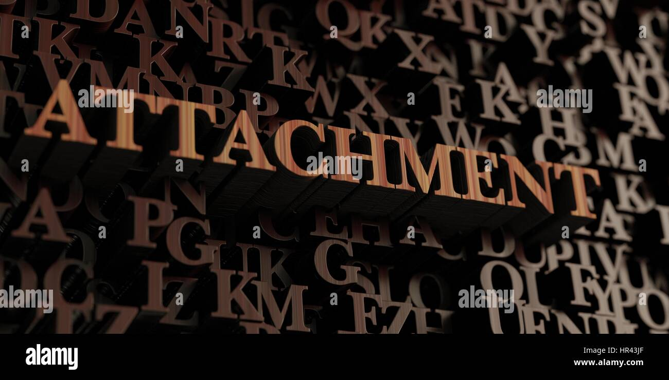 Attachment - Wooden 3D rendered letters/message.  Can be used for an online banner ad or a print postcard. - Stock Image