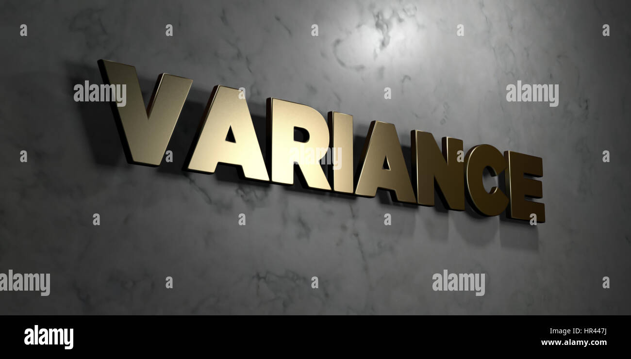 Variance - Gold sign mounted on glossy marble wall  - 3D rendered royalty free stock illustration. This image can - Stock Image