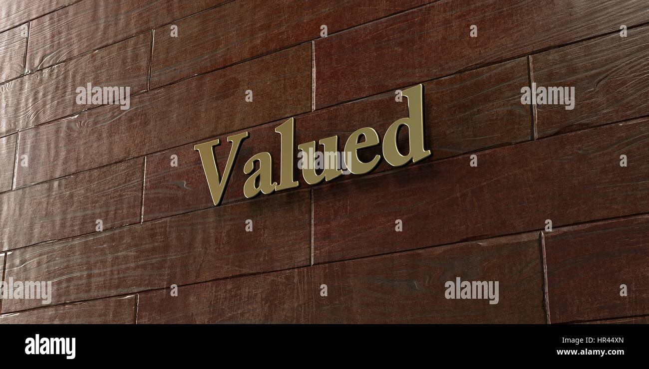 Valued - Bronze plaque mounted on maple wood wall  - 3D rendered royalty free stock picture. This image can be used - Stock Image