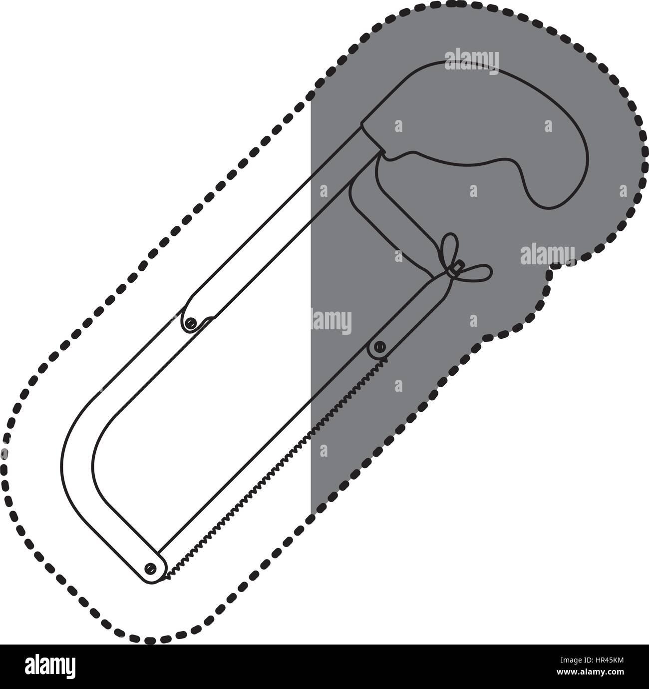 sticker monochrome line contour of hacksaw tool Stock Vector