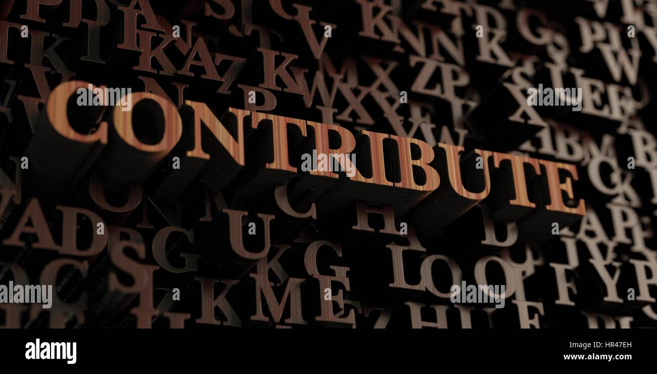 Contribute - Wooden 3D rendered letters/message.  Can be used for an online banner ad or a print postcard. - Stock Image