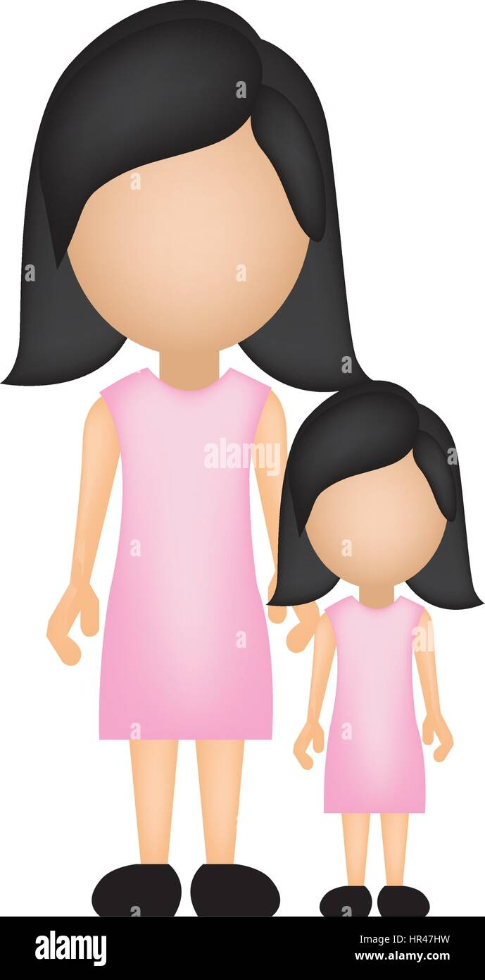 color silhouette faceless with mother and daughter in formal clothes - Stock Vector