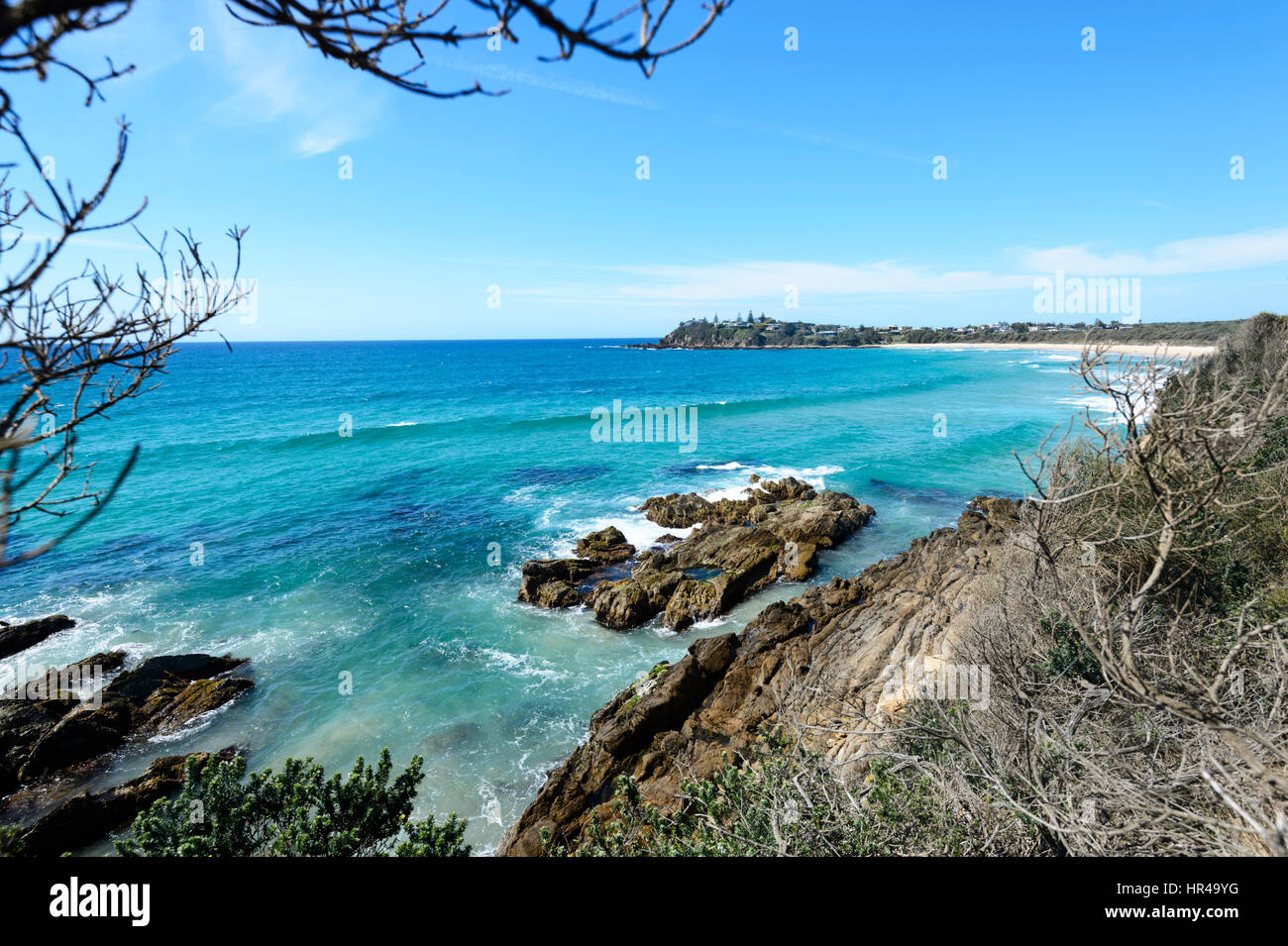 View of the small town of Potato Point seen from Blackfellows Point, New South Wales, Australia - Stock Image