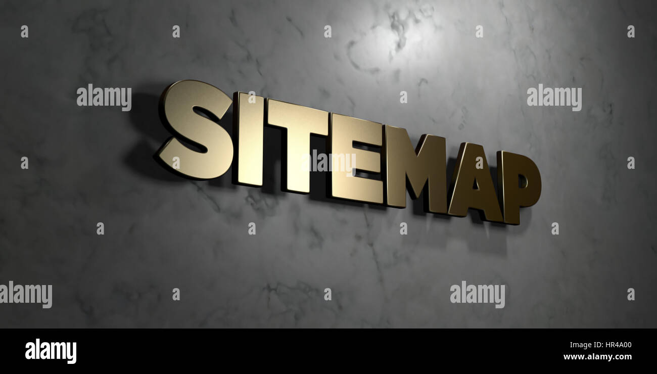 Sitemap - Gold sign mounted on glossy marble wall  - 3D rendered royalty free stock illustration. This image can Stock Photo