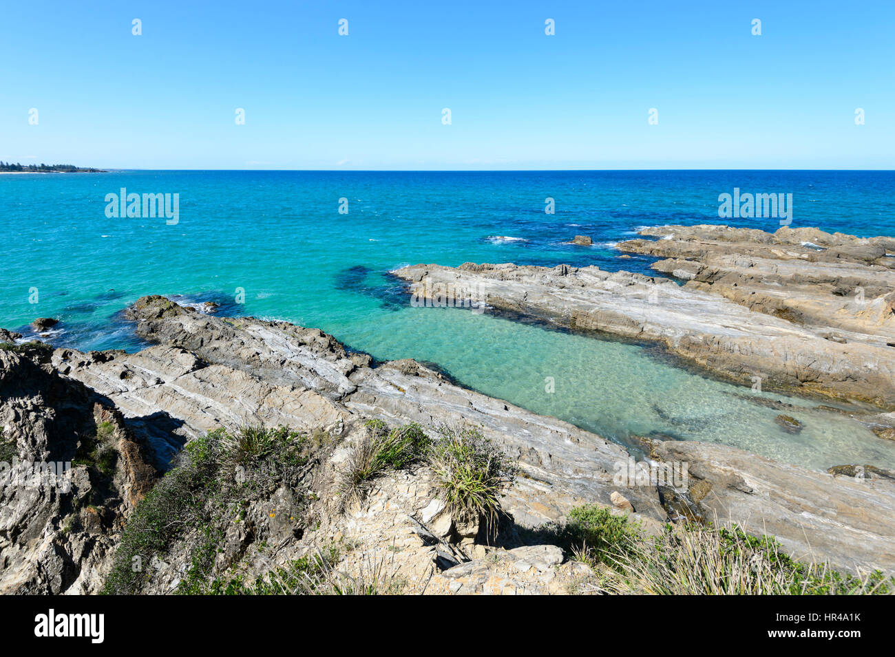 Scenic coastline with turquoise water at Potato Point, New South Wales, Australia - Stock Image