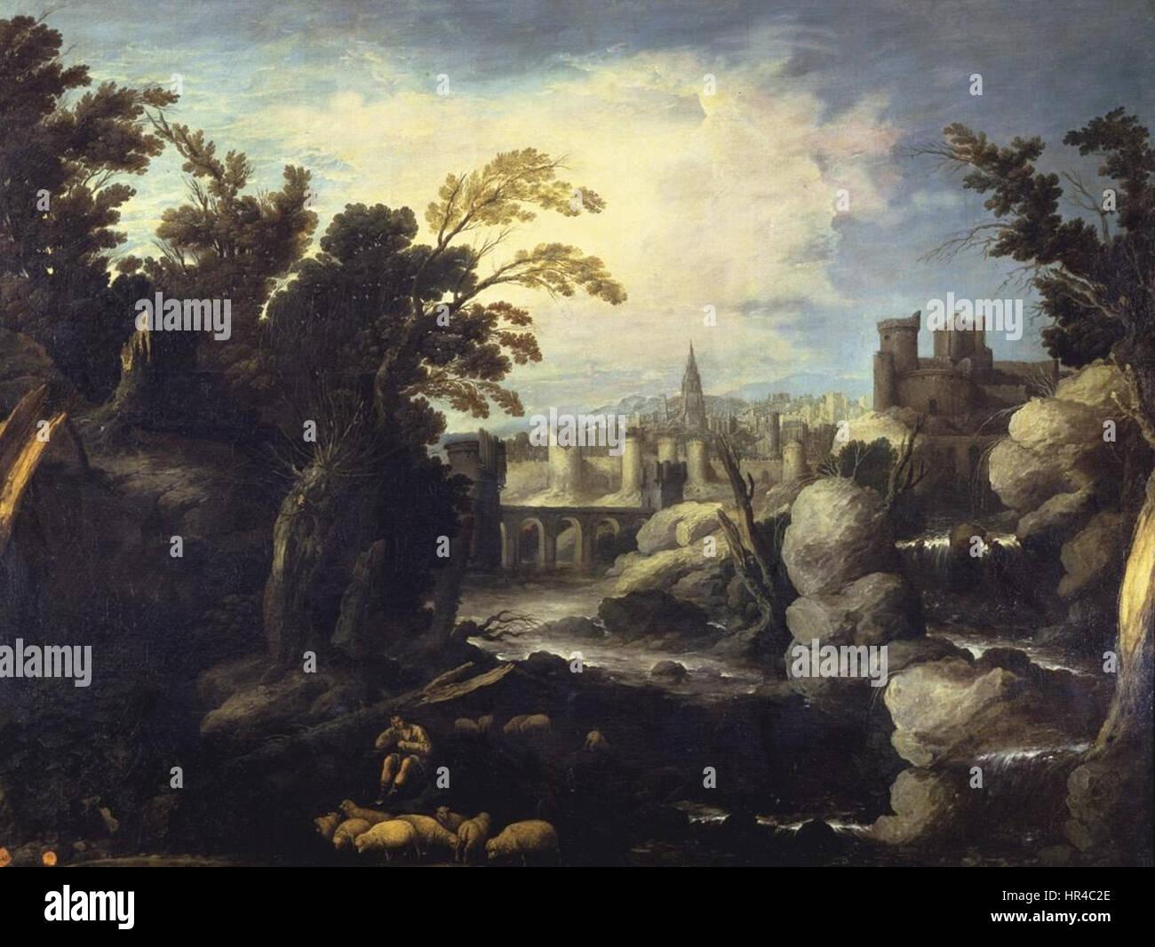 Paisaje con una ciudad, de Francisco Collantes (Real Academia de Bellas Artes de San Fernando) - Stock Image