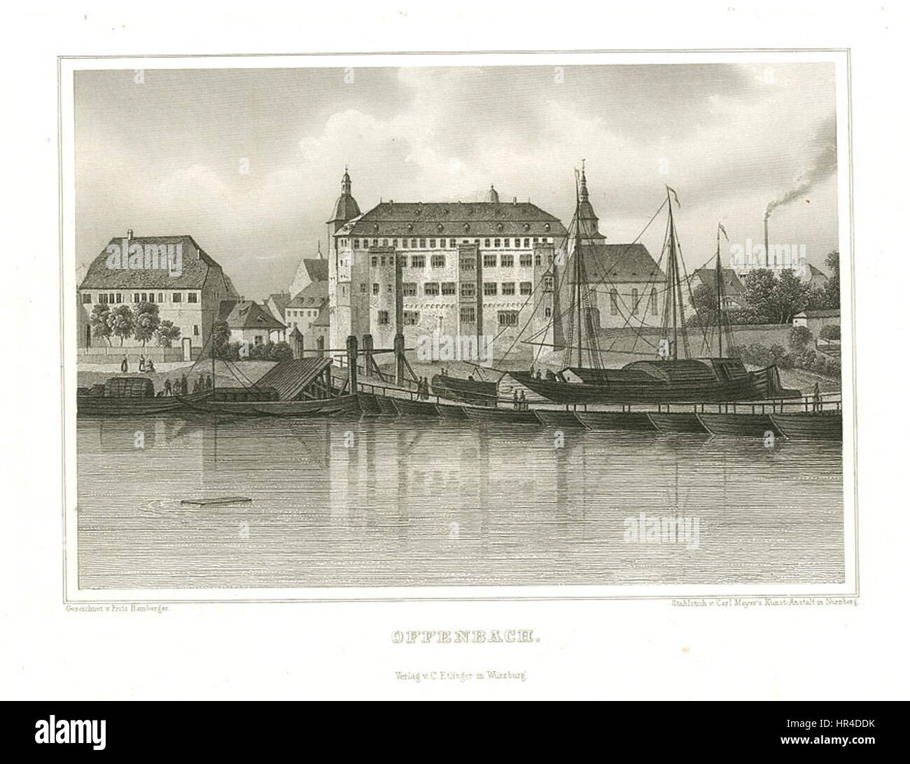 Offenbach Stahlstich 1847 - Stock Image