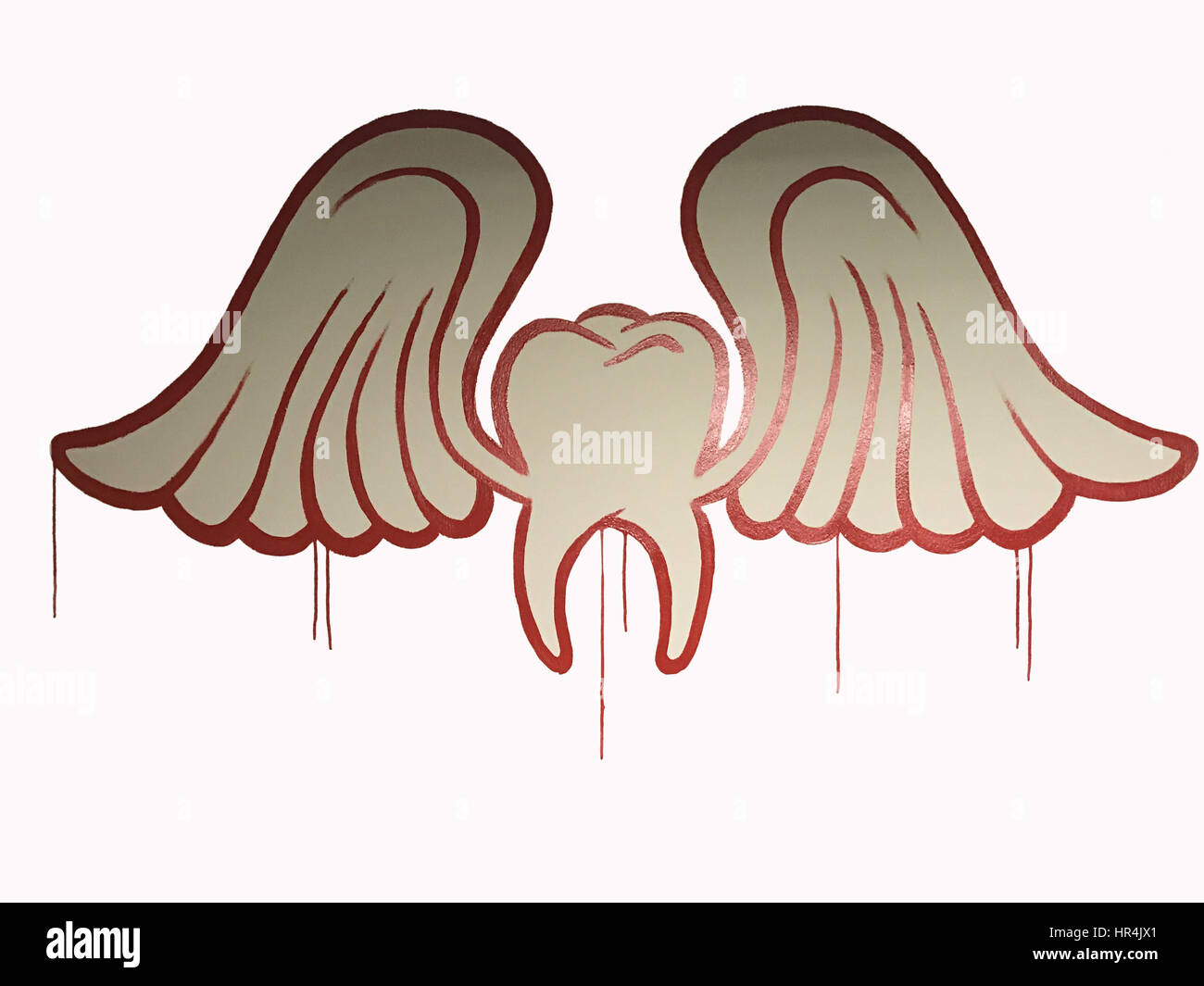 TOOTH DECAY: tooth with wings, dental extraction - Stock Image