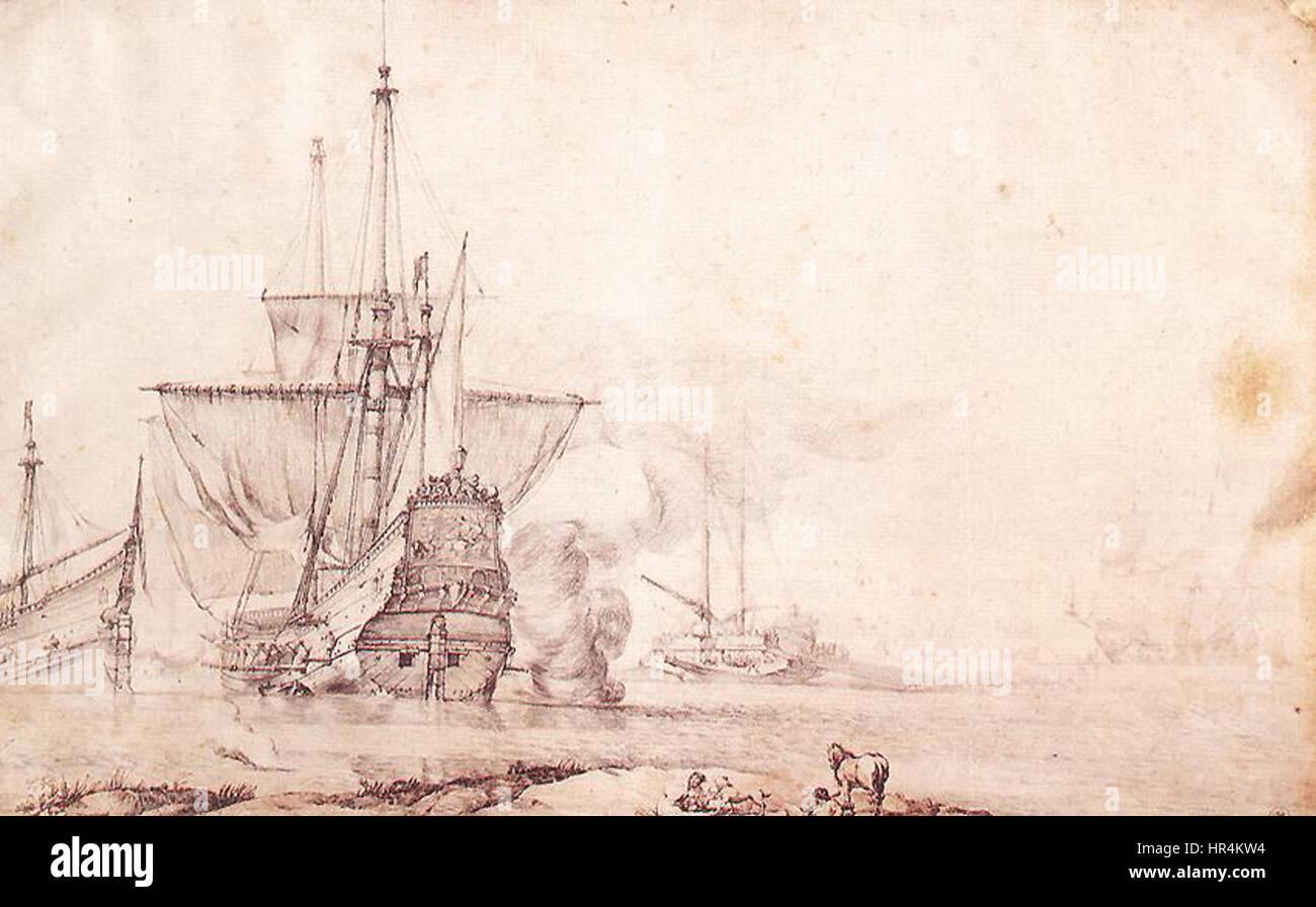 Pierre Puget - Vessel Firing a Salvo - WGA18474 - Stock Image