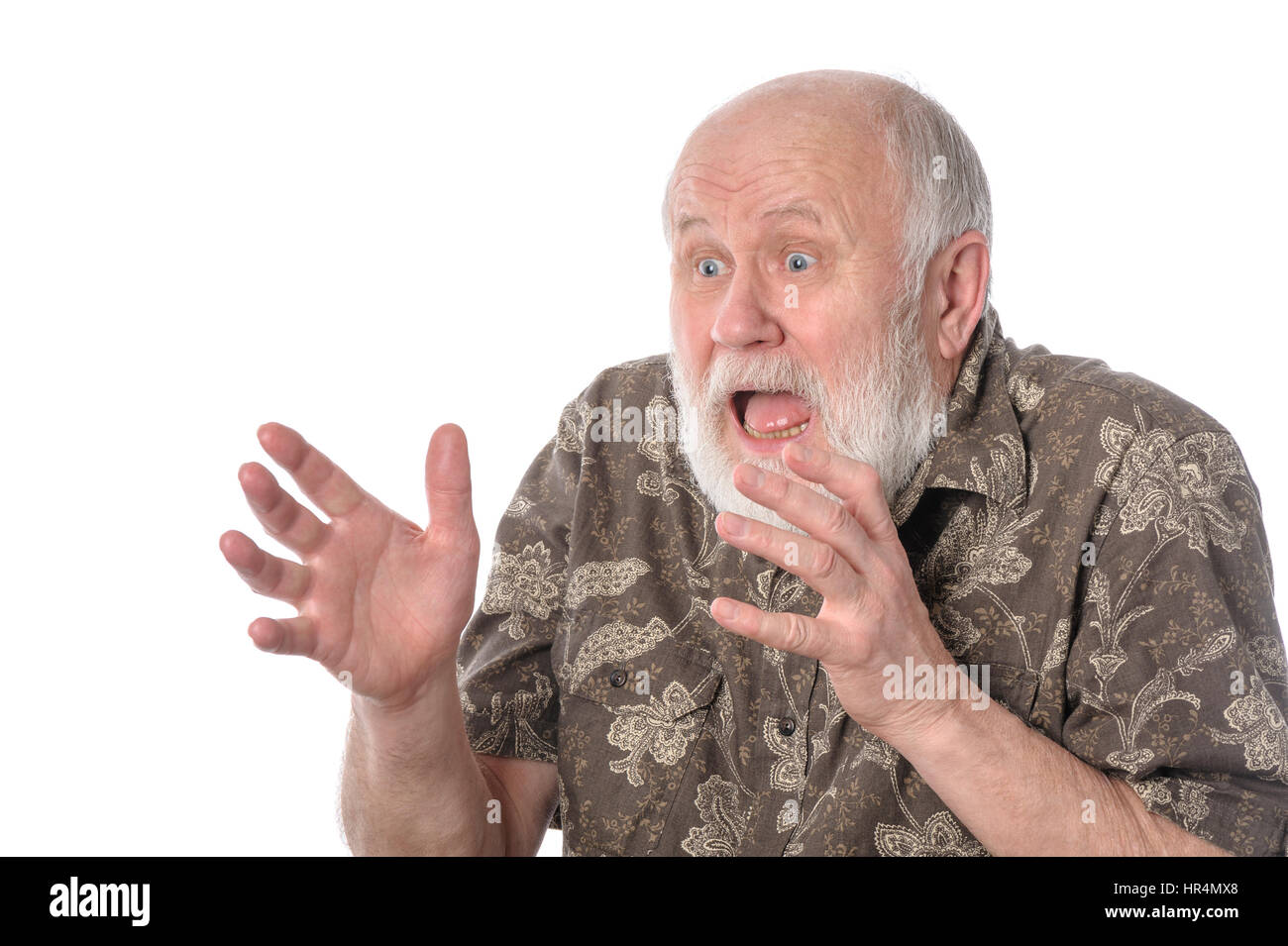 Shocked senior man with grimace of fear, isolated on white - Stock Image