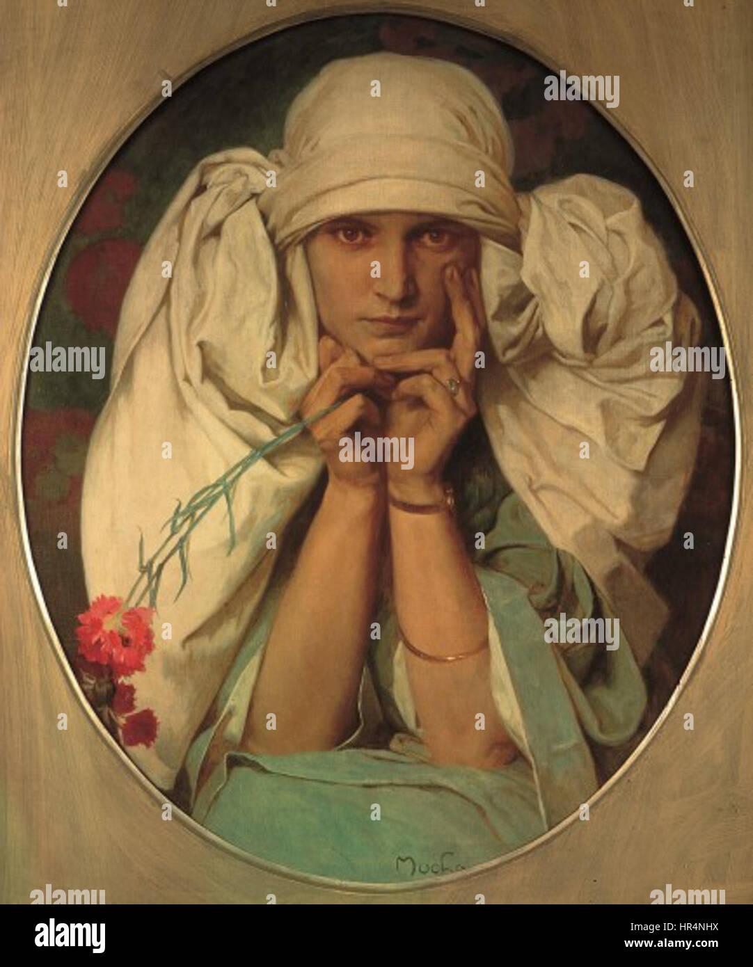 Portrait of Mucha's Daughter, Jaroslava - Alfons Mucha - Stock Image
