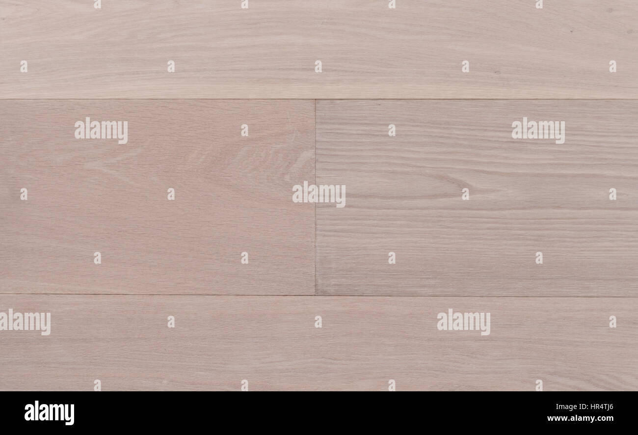 Top view photo of rustic white oiled Italian oak wooden floor boards with nice texture Stock Photo