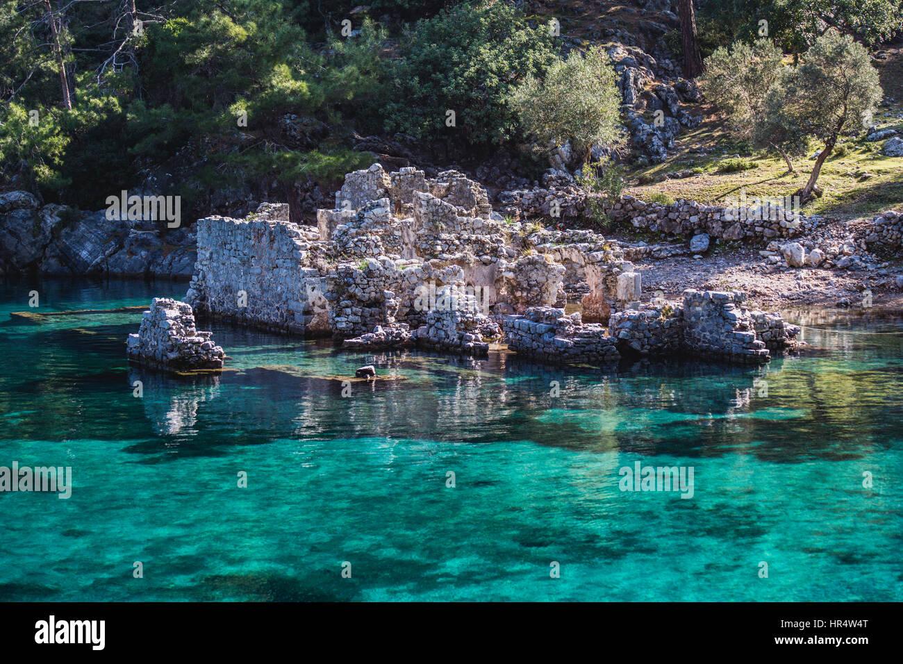 destroyed ruins of cleopatras bath in turkey mediterranean coast gocek - Stock Image