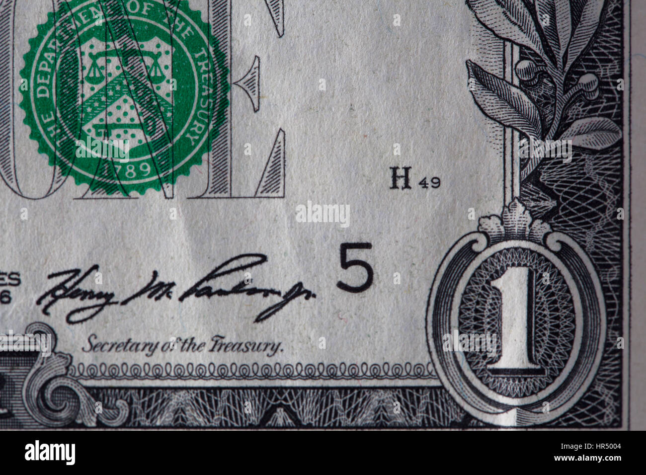 Closeup of a used 1 dollar paper money bill Stock Photo
