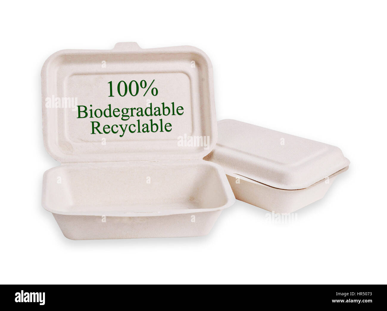 Bagasse box for food isolated on white background, Saved clipping path. It is made from nature Go green - Stock Image