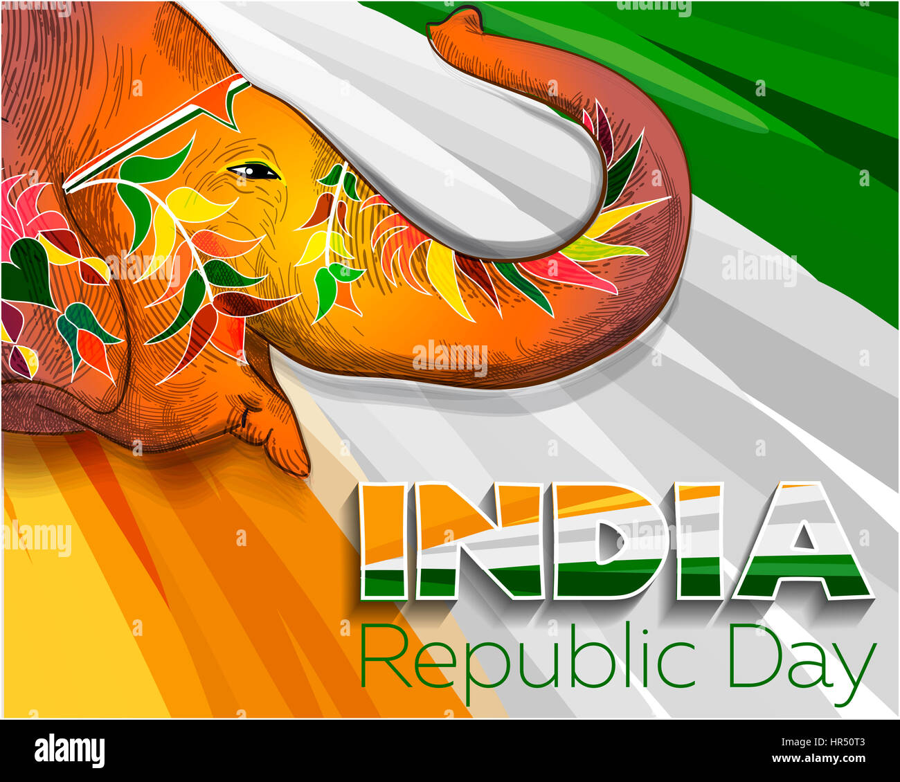 Greeting Card For Republic Day In India Stock Photo 134720099 Alamy