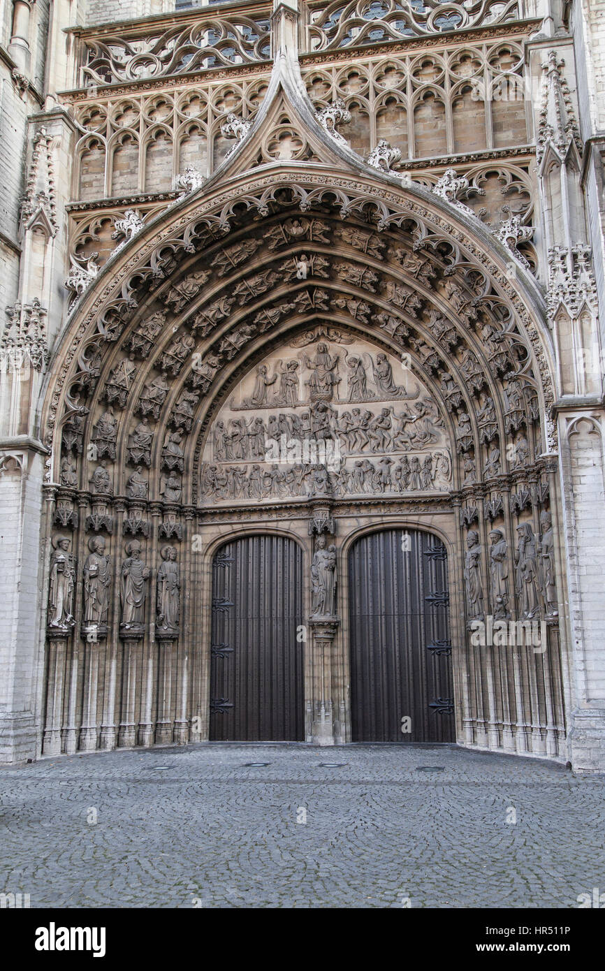 Main portal of the Cathedral of Our Lady in Antwerp, Belgium. - Stock Image