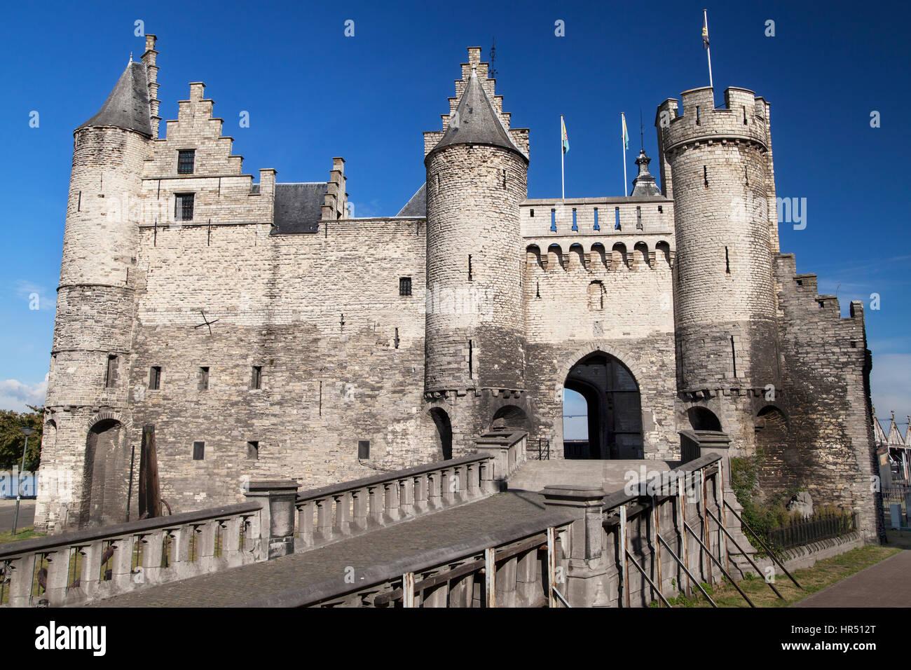 Het Steen Castle in Antwerp, Belgium. - Stock Image