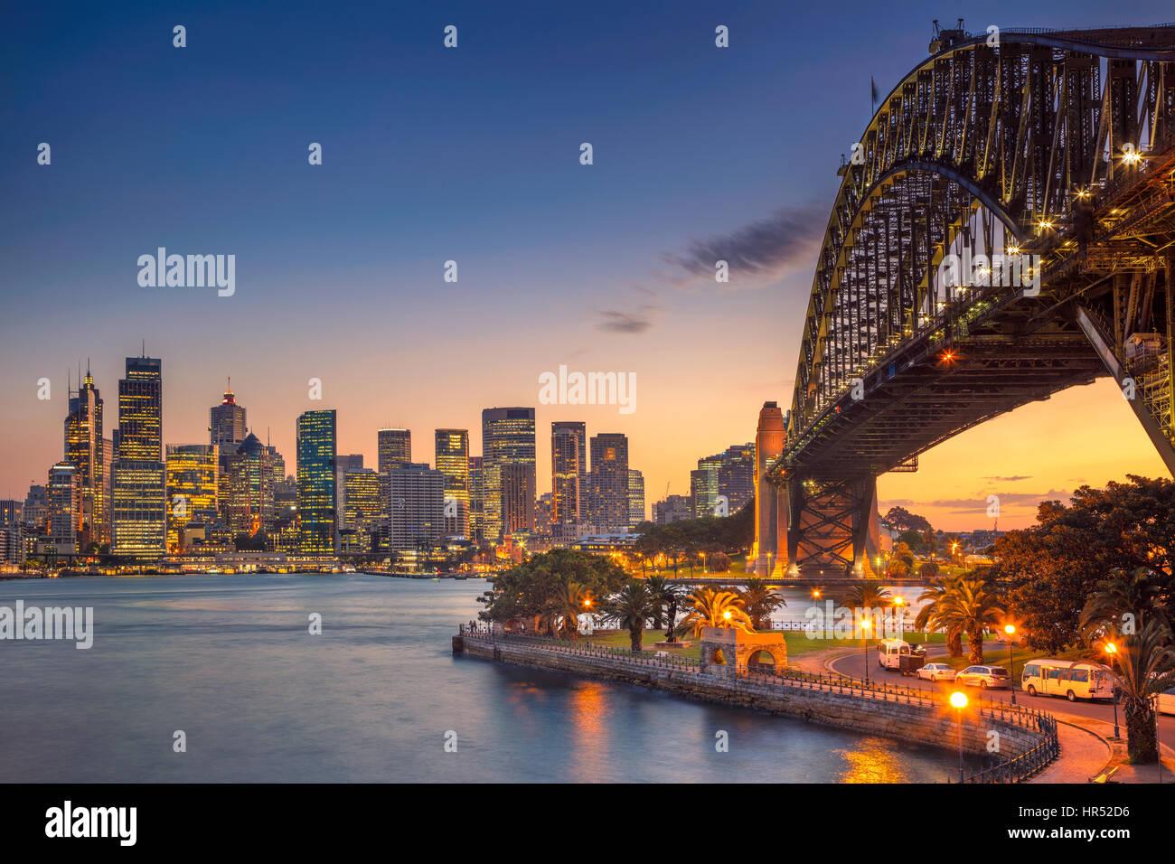 Sydney. Cityscape image of Sydney, Australia with Harbour Bridge during summer sunset. - Stock Image
