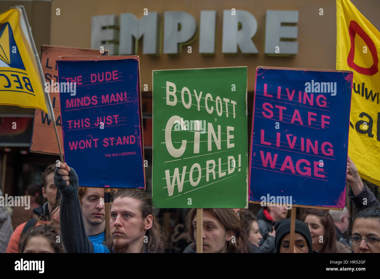 Picture house staff protest against low wages in their Cineworld owned chain - they call for a boycott outside the - Stock Image