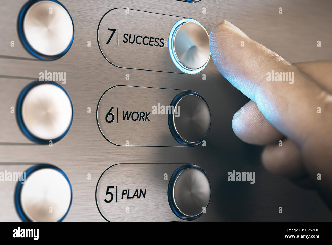 Man pushing an elevator button where it is written he word success. Successful career evolution concept. Composite - Stock Image