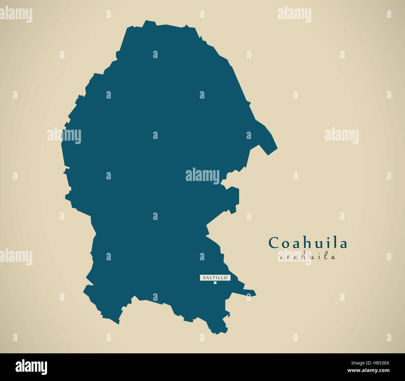 Modern Map Coahuila Mexico Mx Illustration Stock Photo 134722187