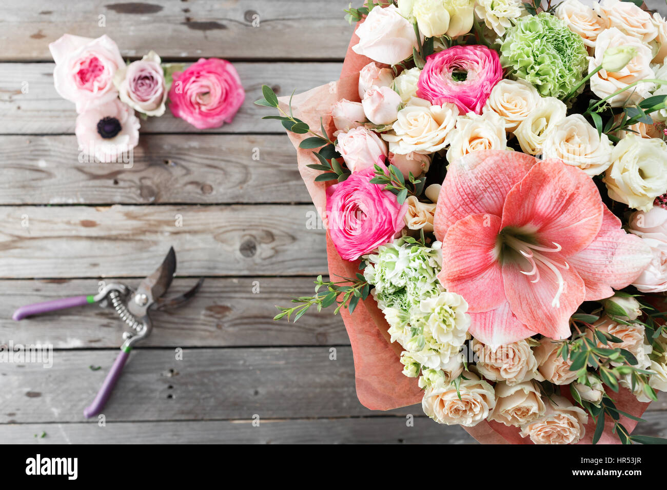 Mix Flowers Bouquet On Wooden Background Old Rustic Table A Coil