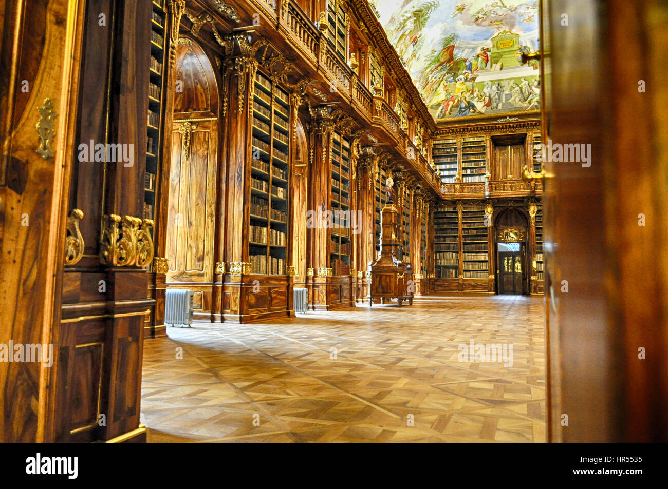 Philosophical Hall. Historical library of Strahov Monastery in Prague - Stock Image