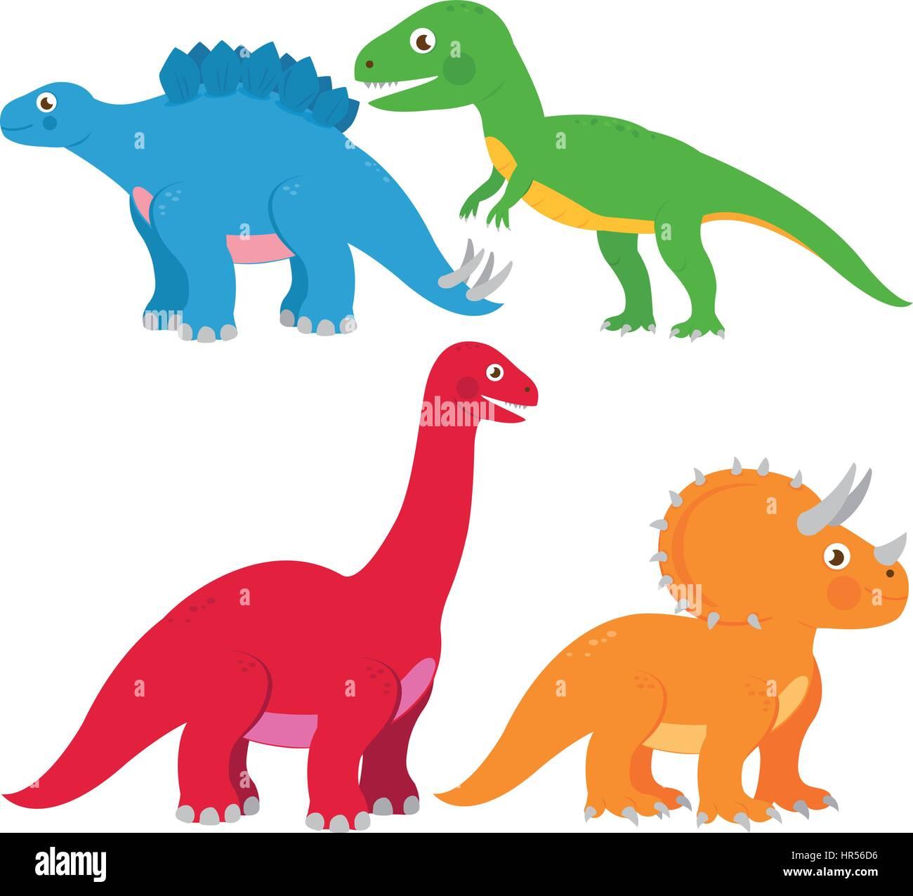 Vector illustration set of dinosaurs: Stegosaurus, Brontosaurus, apatosaurus, triceratops, tyrannosaurus - Stock Image