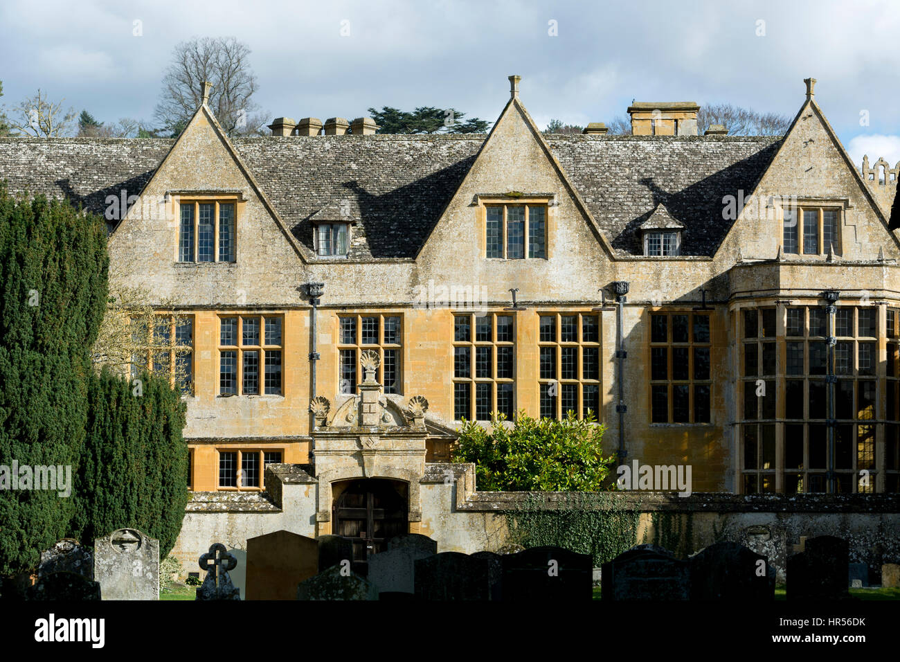 Stanway House from St. Peter`s churchyard, Stanway, Gloucestershire, England, UK Stock Photo