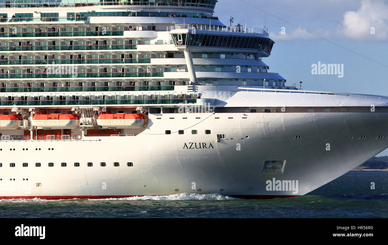 Close crop of P&O Cruise ship Azura under way from Southampton Port in the Solent / Spithead seaway, UK - Stock Image