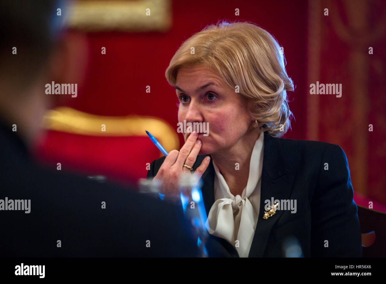 Deputy Prime Minister Olga Golodets during a working meeting in Moscow, Russia - Stock Image