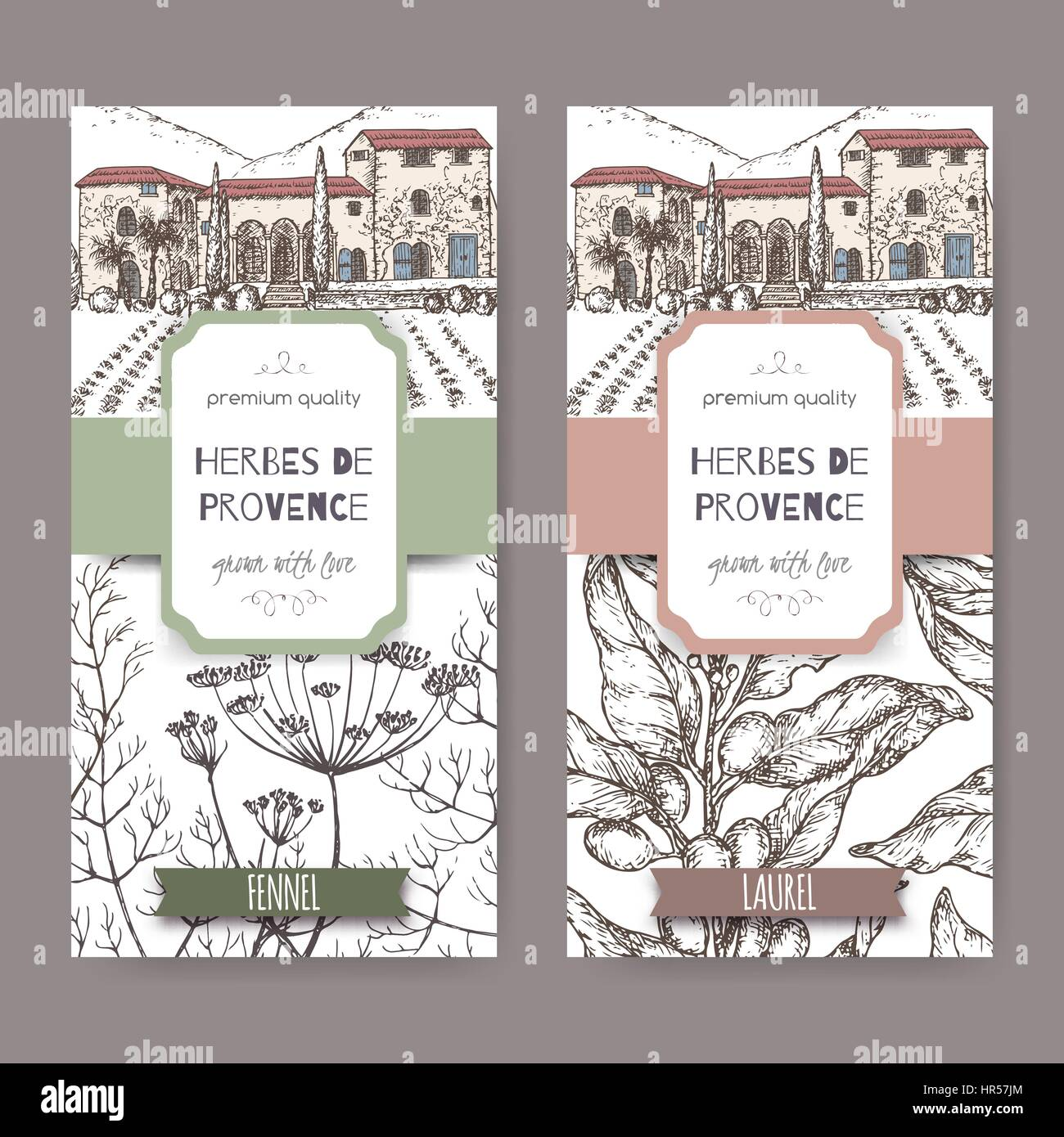Two labels with Provence cottage, fennel and laurel sketch. Stock Vector