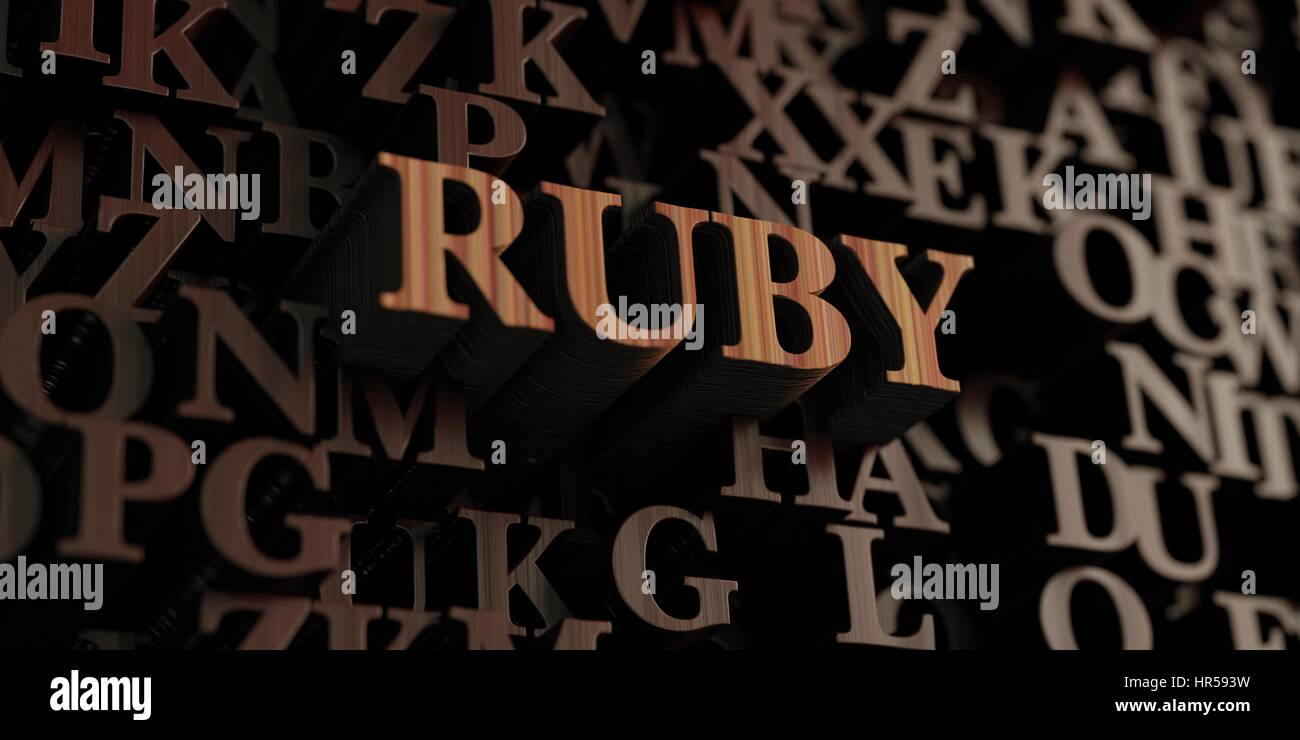 Ruby - Wooden 3D rendered letters/message.  Can be used for an online banner ad or a print postcard. - Stock Image