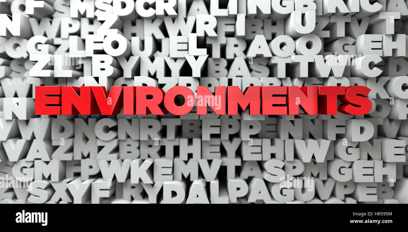 ENVIRONMENTS -  Red text on typography background - 3D rendered royalty free stock image. This image can be used - Stock Image