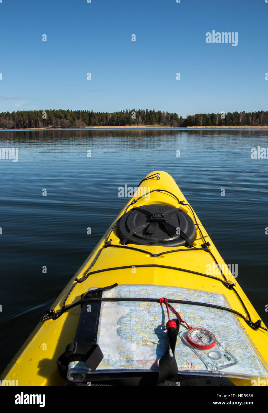 Seakayaking in Stockholm archipelago, Sweden - Stock Image