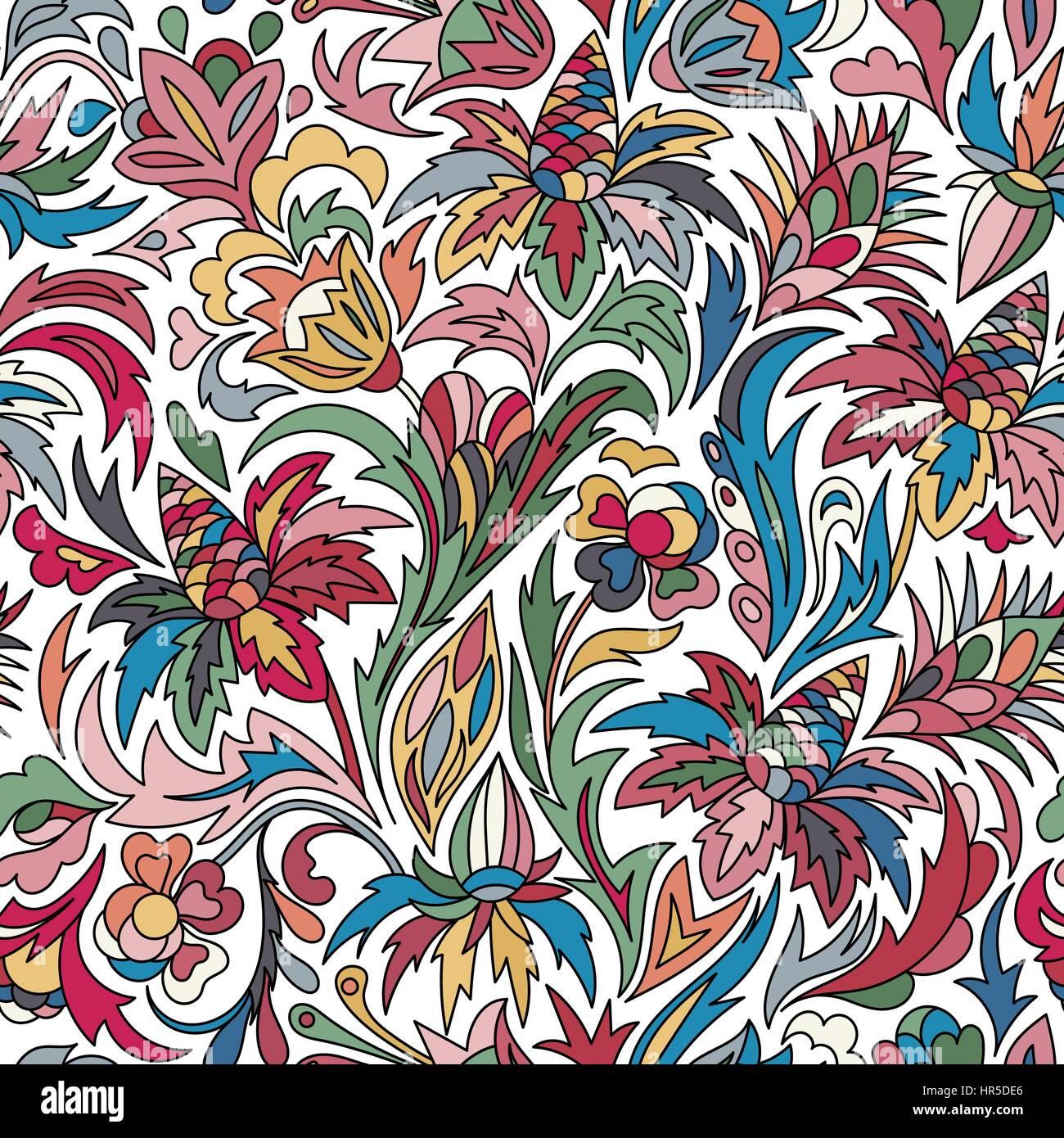 Vector Flower Pattern Seamless Botanic Texture Flowers Stock