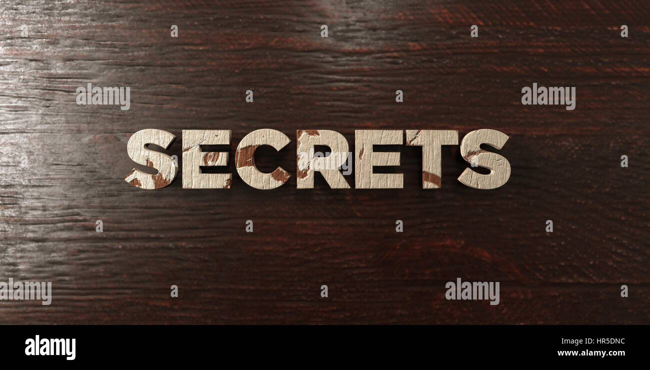 Secrets - grungy wooden headline on Maple  - 3D rendered royalty free stock image. This image can be used for an - Stock Image