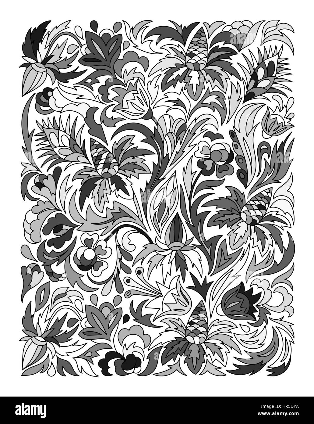 Ethnic colored floral zentangle, doodle background pattern