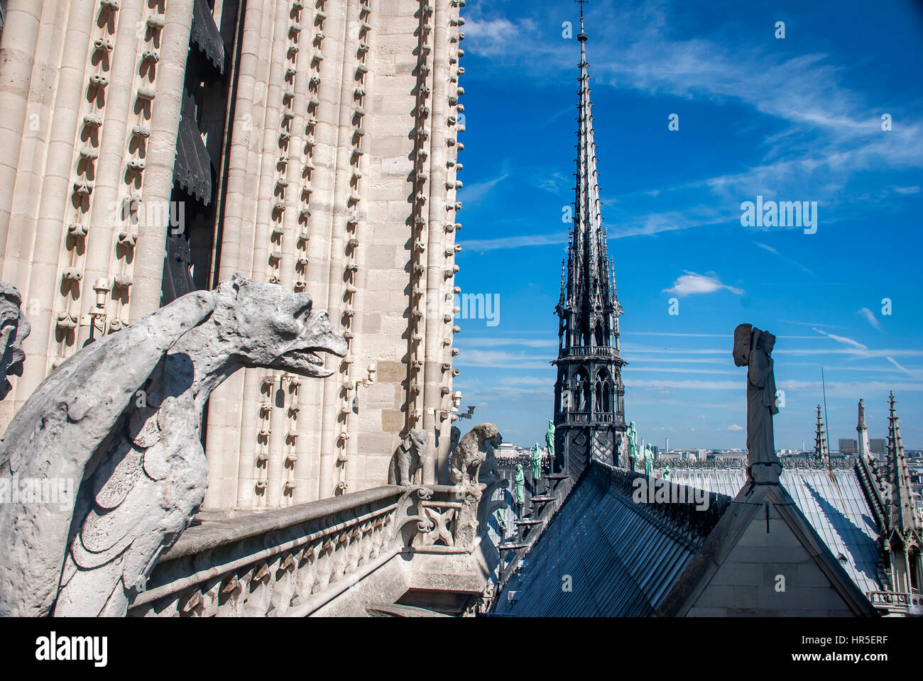 Cityscape photographed from the top of the Notre Dame Cathedral, with Gargoyles, in Paris, France - Stock Image