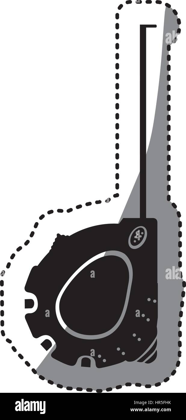 sticker black silhouette tape measure icon - Stock Vector