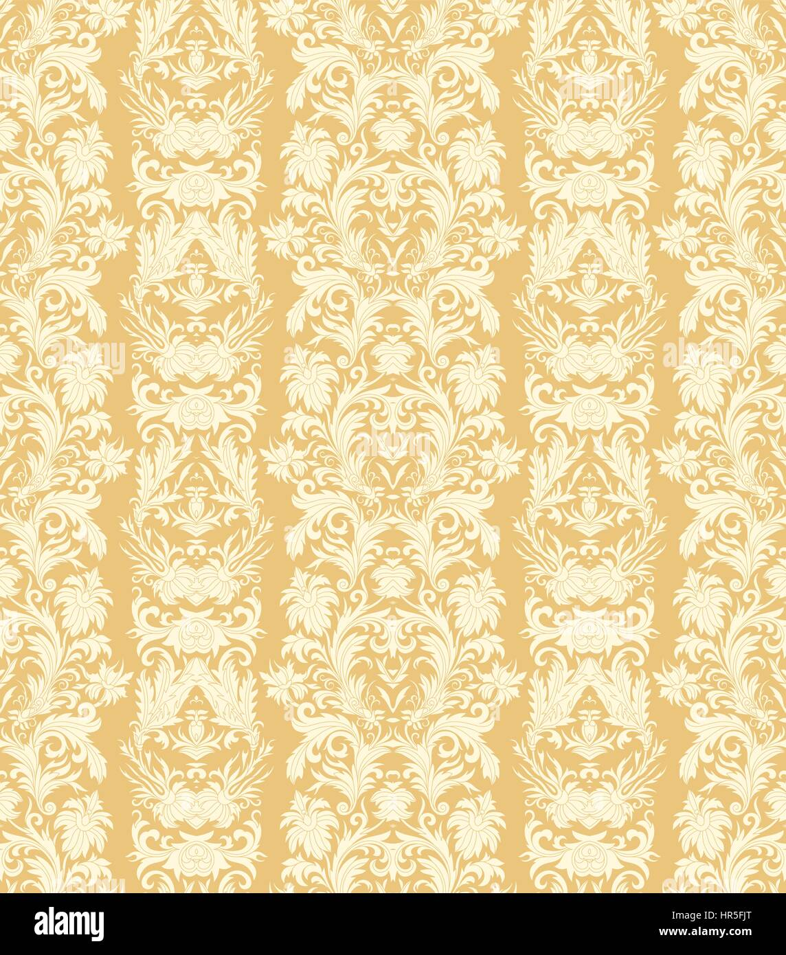 Royal Striped Seamless Pattern Rococo Floral Wallpaper Damask