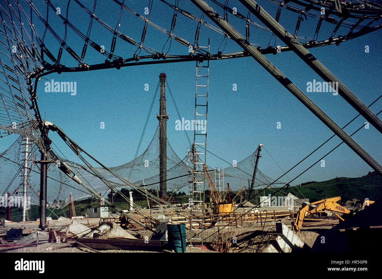The Olympic Park of Munich, site of the Olympic Games 1972, under construction. Bau des Münchner Olympiaparks - Stock Image
