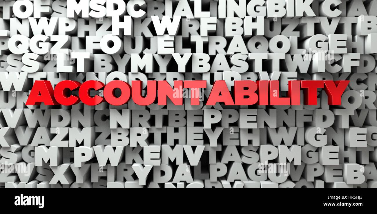 ACCOUNTABILITY -  Red text on typography background - 3D rendered royalty free stock image. This image can be used - Stock Image