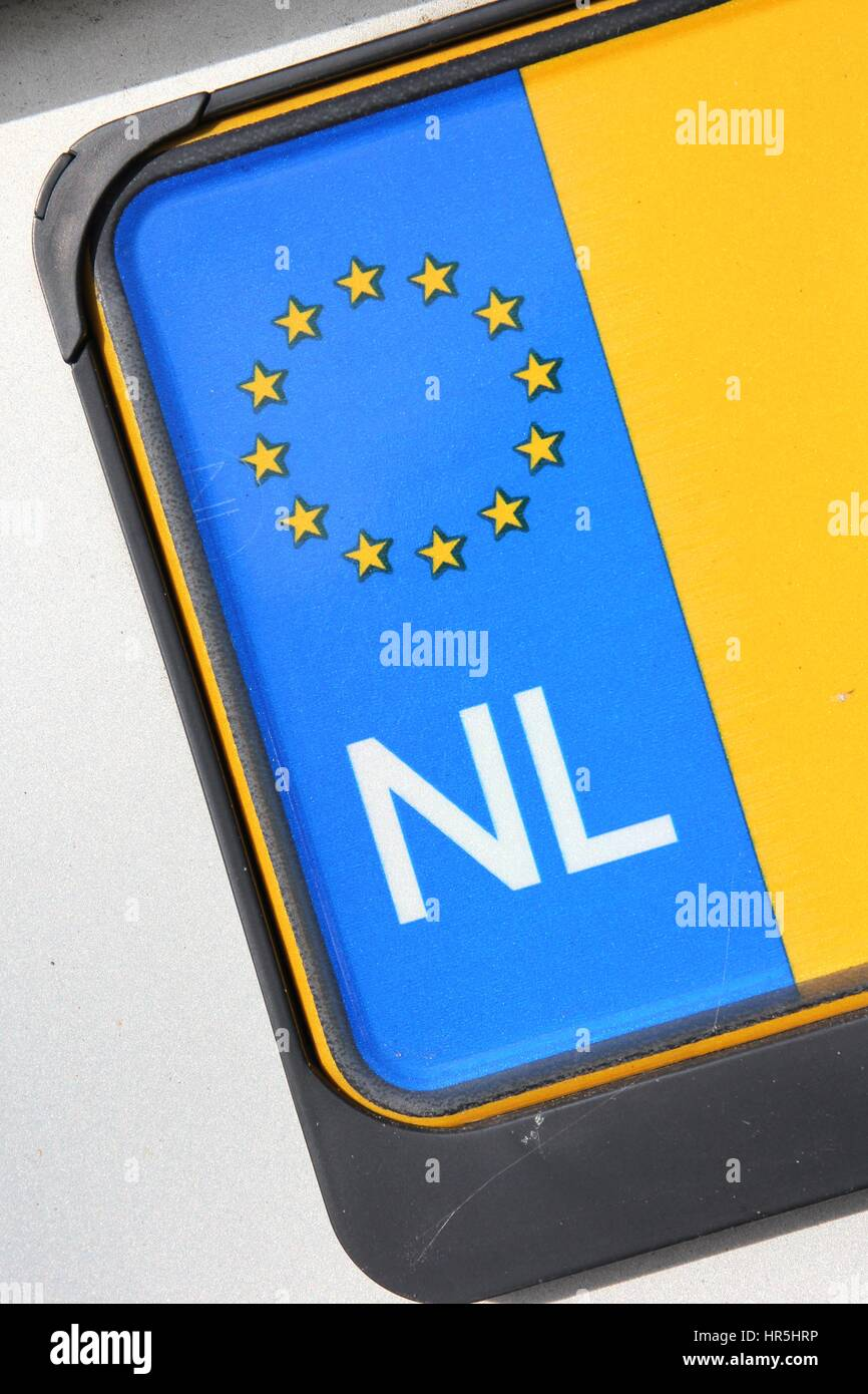 country identifier of EU car registration plate: Netherlands Stock Photo