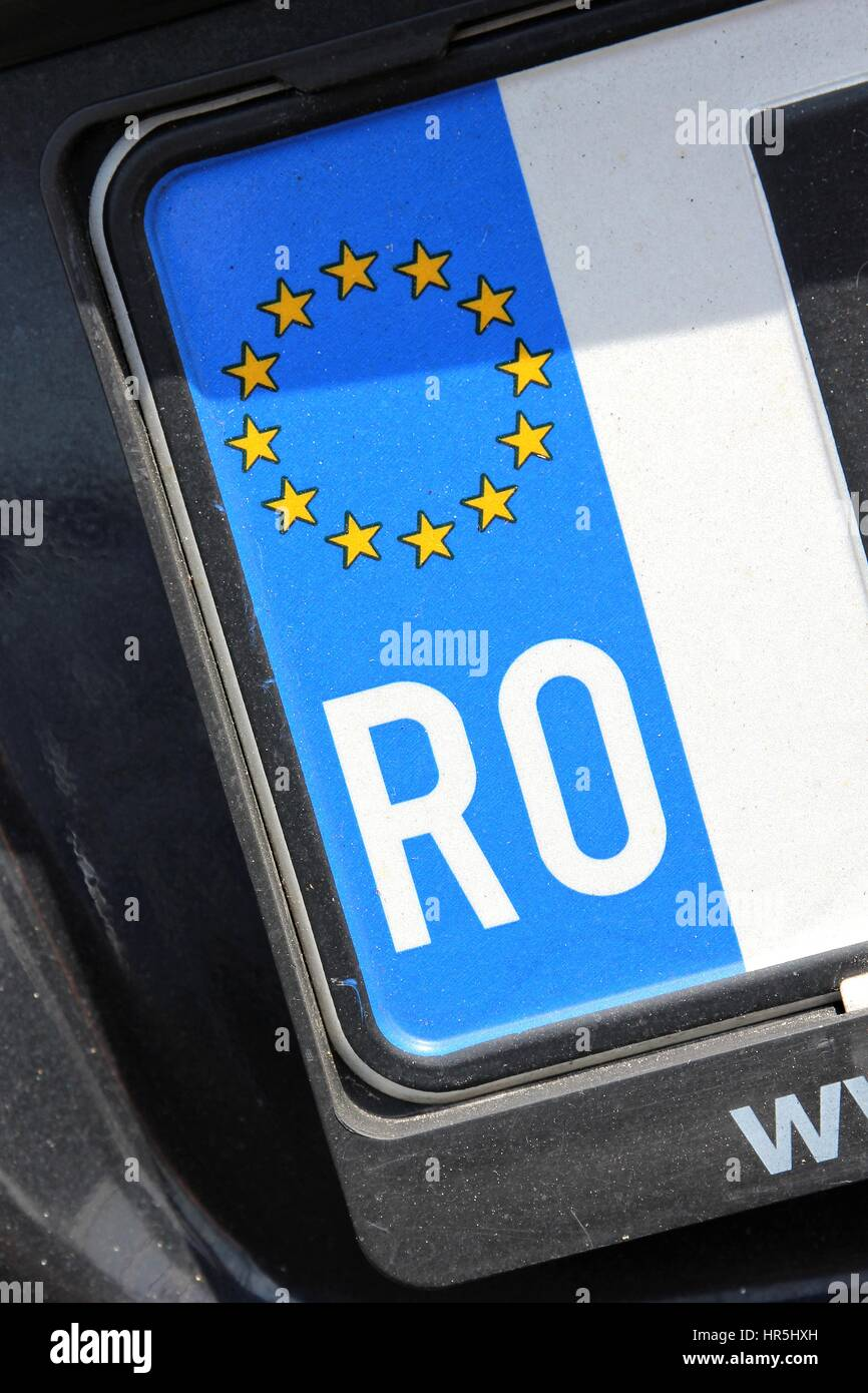 country identifier of EU car registration plate: Romania Stock Photo